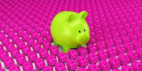 Pink, Piggy bank, Green, Saving, Magenta, Suidae, Money handling,