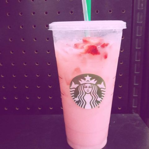 "<p>The famous Starbucks <a href=""http://www.redbookmag.com/food-recipes/a49737/starbucks-pink-drink-official-menu/"" data-tracking-id=""recirc-text-link"">""pink drink""</a> has been a secret menu favorite since a fan invented it last year. Now, Starbucks has announced it's officially joining their year-round menu.This recipe replaces water with coconut milk in a Strawberry Acai Starbucks Refreshers drink and tops it all with a scoop of strawberries. Of course, you can customize your drink with whatever milks, syrups, or toppings you want, though those may cost extra.</p>"