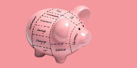 Piggy bank, Saving, Pink, Snout, Money handling, Domestic pig, Ear,