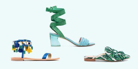 Footwear, Green, Turquoise, Shoe, Sandal, High heels, Toy,