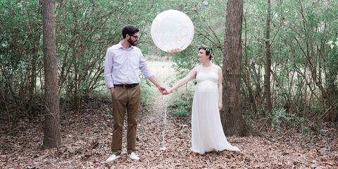 People in nature, Photograph, Bride, Wedding dress, Dress, Natural environment, Woodland, Bridal clothing, Forest, Gown,