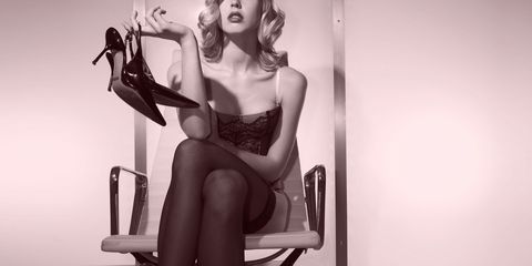 Clothing, Lingerie, Leg, Beauty, Photo shoot, Black-and-white, Model, Sitting, Lip, Stocking,