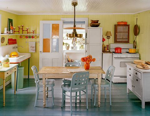 "<p>Sweet and cheery — it's what you want for the heart of a home. This mod farmhouse style is easy. </p><p><strong data-redactor-tag=""strong"">1. Embrace color.&nbsp;</strong><span>From the <a href=""http://www.redbookmag.com/home/decor/advice/g2229/paint-colors-for-every-room-of-the-house/"" target=""_blank"" data-tracking-id=""recirc-text-link"">yellow walls and blue floors</a> to the pops of red and orange, this space is happy. Pepper in lots of neutrals to balance them out.</span></p><p><strong data-redactor-tag=""strong"">2. Mismatch the furniture.&nbsp;</strong><span>The quickest way to a quaint room is to <a href=""http://www.redbookmag.com/home/g2716/16-chic-accessories-that-glam-up-your-kitchen-immediately/"" target=""_blank"" data-tracking-id=""recirc-text-link"">keep things eclectic</a> — but still, the biggest pieces here have similar wood finishes, which makes it cohesive and casual.</span></p><p><strong data-redactor-tag=""strong"">3. Now add the vintage flair.&nbsp;</strong><span>What's a retro kitchen without the homespun touches? Put those secondhand coffee mugs on display, show off your colorful pots, and try a cool metal trash can. Careful, though: The point is to sprinkle in a bit of personality — too much will feel like a flea market.</span></p><p><span><strong data-verified=""redactor"" data-redactor-tag=""strong"">RELATED:&nbsp;<a href=""http://www.redbookmag.com/home/decor/a49453/how-to-organize-your-junk-drawer/"" target=""_blank"" data-tracking-id=""recirc-text-link"">How to Organize Your Junk Drawer So You Can Actually Find What You Need</a><span class=""redactor-invisible-space""><a href=""http://www.redbookmag.com/home/decor/a49453/how-to-organize-your-junk-drawer/""></a></span></strong><br></span></p>"