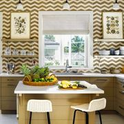 Yellow, Interior design, Room, Table, Furniture, Ceiling, Light fixture, Floor, Interior design, Home,