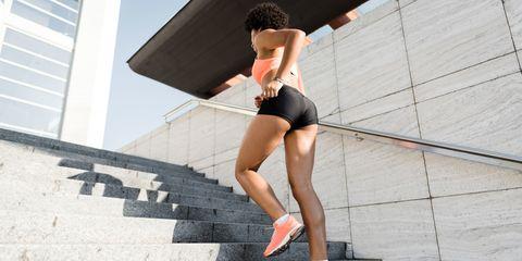 Leg, Human leg, Stairs, Calf, Thigh, Knee, Carmine, Muscle, Athletic shoe, Foot,