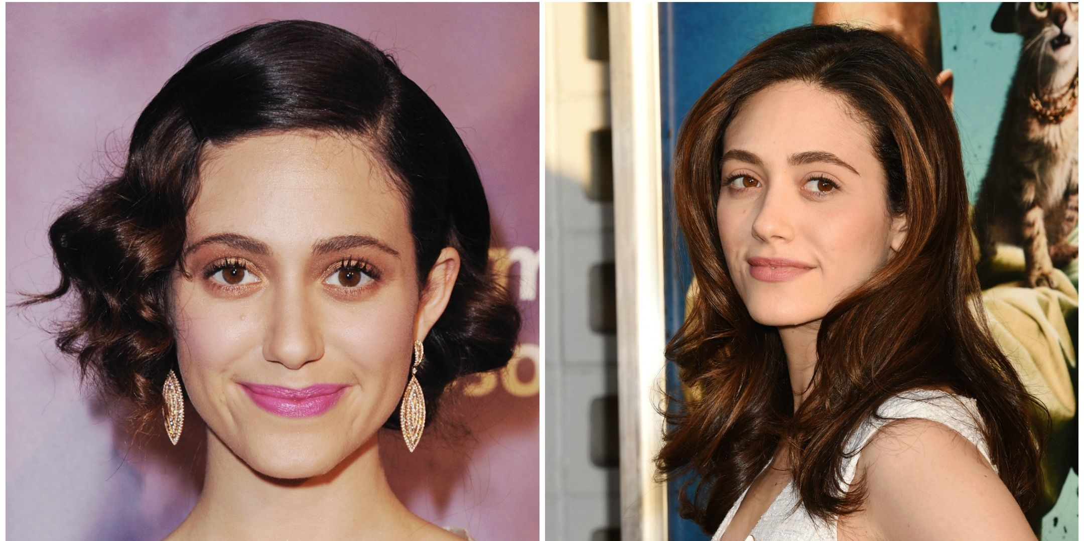 """Emmy Rossum There's a fine line between wanting to pump up the fun with your makeup, and looking like, well, a clown. Emmy may have veered a bit too far once, but her look these days proves she's learned a trick or two in the """"less is more"""" category."""