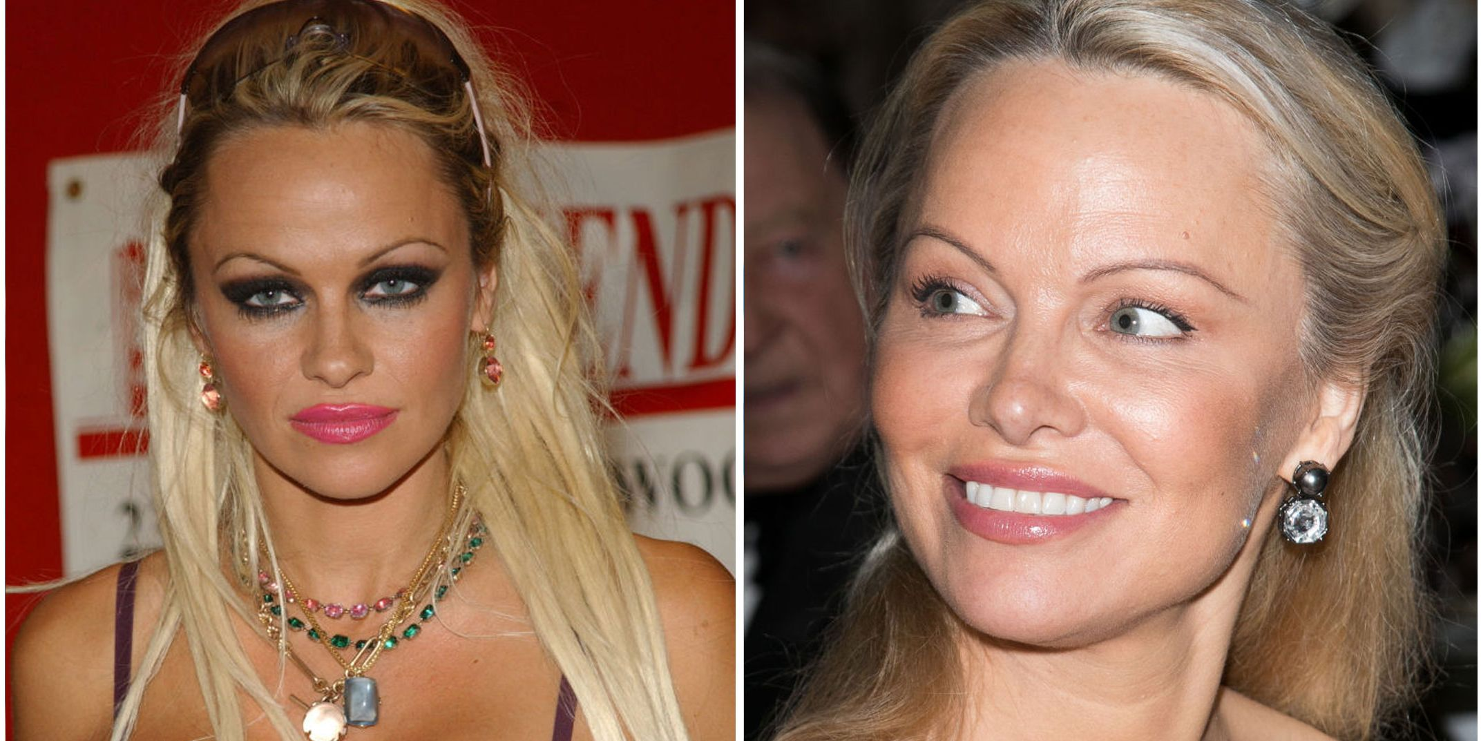 Pamela Anderson The Baywatch star's name has been synonymous with bleach blonde hair, fake tanner, and plump lips since she first appeared in that famous red bikini. But recently, the 49-year-old started toning things down — she softened the blonde in her hair and has been wearing super simple makeup.