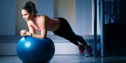 Swiss ball, Ball, Exercise equipment, Physical fitness, Pilates, Abdomen, Human leg, Leg, Arm, Sportswear,