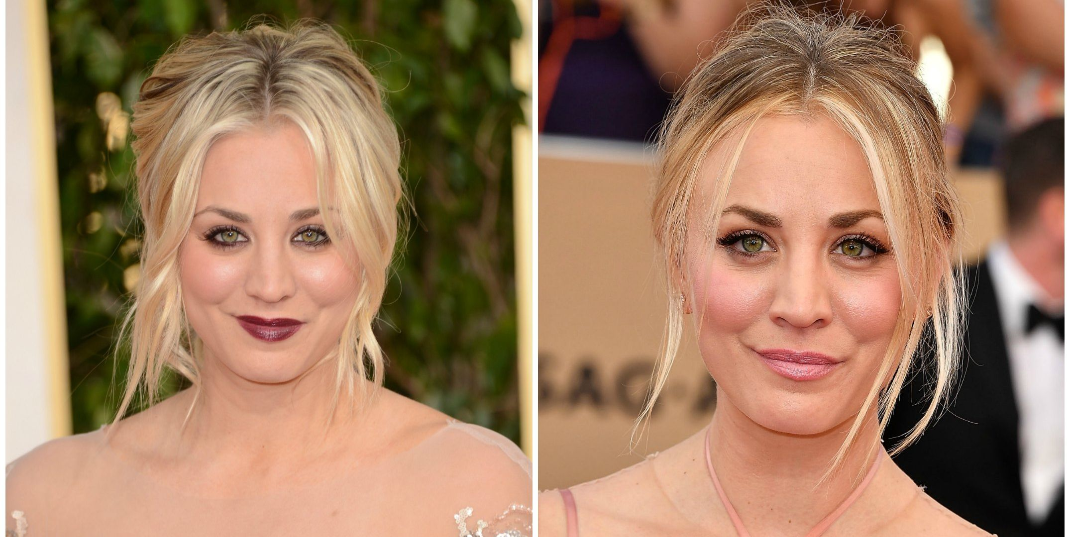 Kaley Cuoco Kaley has never really gone too over-the-top with her makeup, but there's a reason she often plays the girl next door on TV: she doesn't need rimmed liner and dark lips to look A+.
