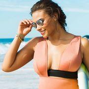 Clothing, Eyewear, Fun, Skin, Brassiere, Shoulder, Joint, Leisure, Swimsuit top, Summer,