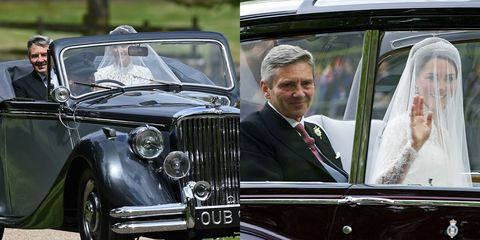 <p>Father of the bride, Michael Middleton, drove up in style to both wedding ceremonies sporting a classic set of tails and accessorized with a classic car and his beautiful daughters on both occasions. </p>