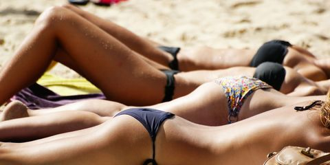 Sun tanning, Bikini, Swimwear, Undergarment, Clothing, Beauty, Leg, Vacation, Summer, Lingerie,