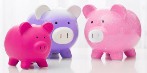 Piggy bank, Pink, Saving, Money handling, Snout, Animal figure, Toy,