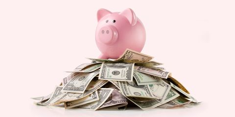 Cash, Money, Currency, Saving, Piggy bank, Money handling, Domestic pig, Banknote, Dollar, Paper,