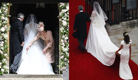 <p>Back in 2011, Pippa received a lot of attention&nbsp;for her perfectly fitted, Alexander McQueen bridesmaid gown. But opting not steal her sister's thunder on her big day, instead of a bridesmaid's gown, Kate looked&nbsp;chic in a rose&nbsp;McQueen&nbsp;dress and whimsical matching hat.&nbsp;</p>