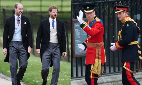 <p>The young princes, William and Harry, traded in their colorful royal uniforms for clean vests and stylish&nbsp;tails at Pippa's elegant country wedding.&nbsp;</p>