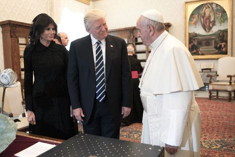 President of United States of America Donald Trump and Wife Melania Trump meet Pope Francis, on May 22, 2017 in Vatican City, Vatican
