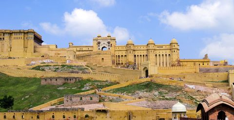 "<p>Walk up the ramparts (alongside Asian elephants!) to take in the carved panels and mirrored ceilings of this <a href=""http://www.lonelyplanet.com/india/rajasthan/amber/sights/military/amber-fort"" target=""_blank"">sandstone palace</a>. </p>"