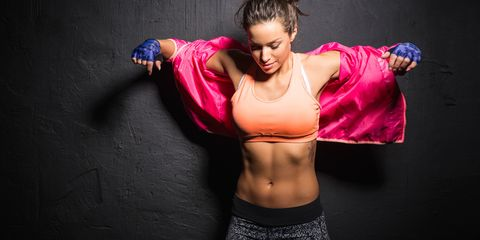 Abdomen, Muscle, Pink, Shoulder, Stomach, Arm, Joint, Photo shoot, Chest, Fitness professional,