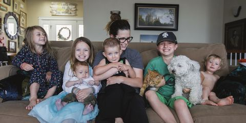 People, Family, Child, Family taking photos together, Labradoodle, Lap, Grandparent, Toddler, Canidae, Family pictures,