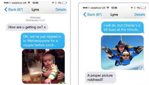 "<p>This mom just wanted <a href=""http://www.redbookmag.com/life/news/a44156/man-vs-baby-funny-texts-working-mom/"" target=""_blank"" data-tracking-id=""recirc-text-link"">one simple update</a> on how her baby was doing during her first day back at work. Thankfully, her husband <a href=""https://www.facebook.com/manversusbaby/photos/a.731695576968065.1073741828.728359387301684/756994964438126/?type=3&amp;theater"" target=""_blank"" data-tracking-id=""recirc-text-link"">had it handled</a>, taking his baby to the pub, a club, skydiving, and rocket launching. Sounds like a totally normal day.&nbsp;</p>"