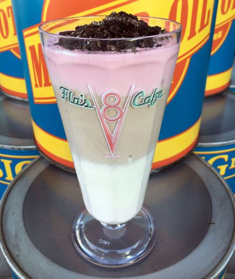"""<p>Hidden on the menu at Flo's in Cars Land at California Adventures is this <a href=""""http://www.delish.com/food/g4188/best-milkshakes-in-every-state/"""" target=""""_blank"""" data-tracking-id=""""recirc-text-link"""" data-unsp-sanitized=""""clean"""">milkshake</a> sure to satisfy any sweet tooth. Typically listed on Flo's menu as separate flavors, strawberry, chocolate, and vanilla look even better layered on top of one another. The crushed Oreo sprinkled on top doesn't hurt, either.&nbsp;</p>"""