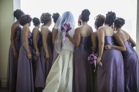 Dress, Gown, Bridal party dress, Bride, Clothing, Formal wear, Purple, Ceremony, Event, Wedding,