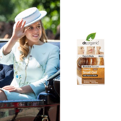 """<p>Princess Beatrice <a href=""""http://www.dailymail.co.uk/femail/article-2851606/Louise-Redknapp-40-showcases-eternal-youth-new-beauty-campaign-reveals-sends-organic-make-range-Princess-Beatrice.html"""" target=""""_blank"""" data-tracking-id=""""recirc-text-link"""">uses Dr. Organic Snail Gel</a> for her skin.&nbsp;I'm more than a tad skeptical of putting anything called """"snail gel"""" on my face but, hey, if it's good enough for a princess...&nbsp;($26.25;&nbsp;<a href=""""https://www.amazon.com/Organic-Doctor-Moisturizing-Restoring-Skincare/dp/B00L0L3L5O"""" target=""""_blank"""" data-tracking-id=""""recirc-text-link"""">amazon.com</a>)</p><p><a href=""""https://www.amazon.com/Organic-Doctor-Moisturizing-Restoring-Skincare/dp/B00L0L3L5O?tag=redbook_auto-append-20"""" target=""""_blank"""" class=""""slide-buy--button"""" data-tracking-id=""""recirc-text-link""""><strong data-redactor-tag=""""strong"""" data-verified=""""redactor"""">BUY NOW</strong></a></p><p><strong data-redactor-tag=""""strong"""" data-verified=""""redactor"""">RELATED: </strong><a href=""""http://www.redbookmag.com/fashion/style/g608/best-drugstore-bb-cream/"""" target=""""_blank"""" data-tracking-id=""""recirc-text-link""""><strong data-redactor-tag=""""strong"""" data-verified=""""redactor"""">The Best BB and CC Creams for Your Buck</strong></a> </p>"""