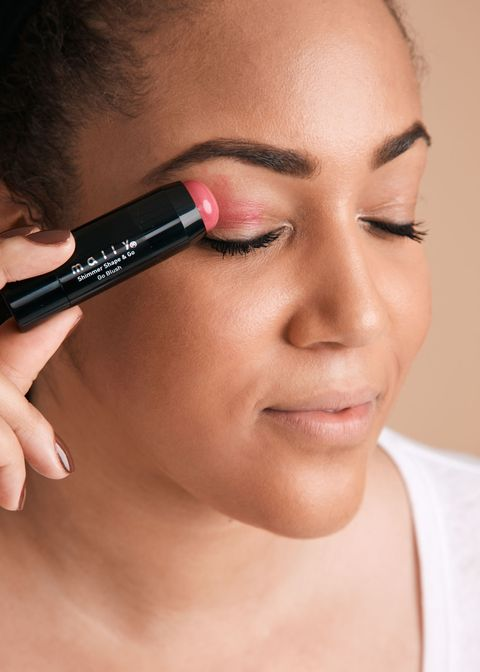 "<p>Choose a blush stick with a rounded tip, which helps it glide on more easily. Swipe a smidge of it along the crease of your lids, then use your ring finger to tap it down to the lash lines. You want the color to be sheerest on your eyes.</p><p><strong data-redactor-tag=""strong"" data-verified=""redactor"">RELATED:&nbsp;<a href=""http://www.redbookmag.com/beauty/makeup-skincare/features/g3154/beauty-tips-for-women/"" target=""_blank"" data-tracking-id=""recirc-text-link"">15 DIY Beauty Hacks You Really Should Have Tried By Now</a></strong><span class=""redactor-invisible-space""><strong data-redactor-tag=""strong"" data-verified=""redactor""><a href=""http://www.redbookmag.com/beauty/makeup-skincare/features/g3154/beauty-tips-for-women/""></a></strong></span></p>"