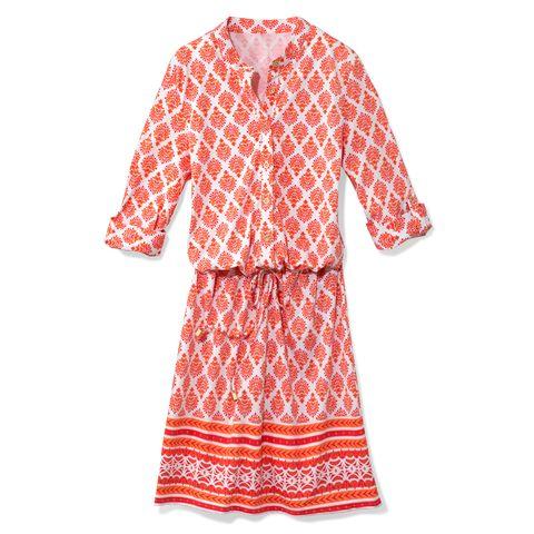 Clothing, Orange, Day dress, Sleeve, Pink, Dress, Pattern, Nightwear, Cover-up, Robe,