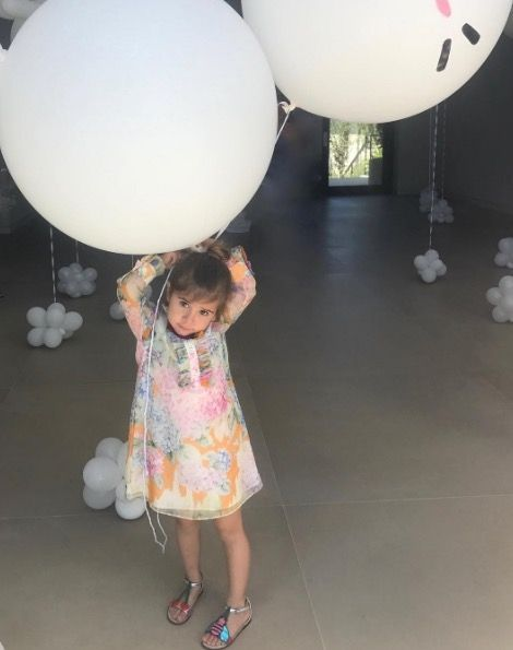 <p>Kourtney Kardashian's oldest daughter had an adorable fifth birthday party, complete with giant balloons. </p>