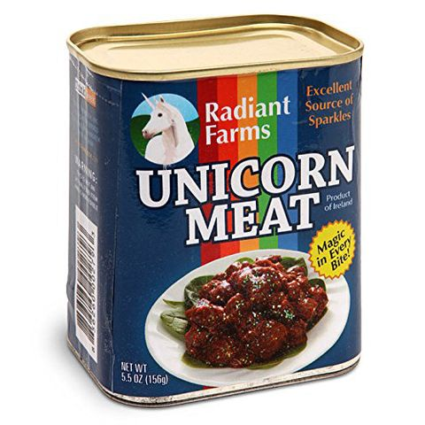 "<p><strong data-redactor-tag=""strong"" data-verified=""redactor""><em data-redactor-tag=""em"" data-verified=""redactor"">$12</em></strong> <a href=""https://www.amazon.com/ThinkGeek-Canned-Unicorn-Meat-Ounce/dp/B0089KZPNU/?tag=bp_links-20"" target=""_blank"" class=""slide-buy--button"" data-tracking-id=""recirc-text-link"">BUY NOW</a></p><p>OK, but do you really want to live a half-life???? Has<em data-redactor-tag=""em"" data-verified=""redactor""> Harry Potter </em>taught you NOTHING?!</p><p><strong data-redactor-tag=""strong"" data-verified=""redactor"">Best review:</strong> ""Unfortunately, I found this unicorn meat brand to be quite similar to spam, both in texture and blandness. I'd been hoping for that zestier kick that comes from the rump cuts of other mythical and fantastical creatures, such as griffins or centaurs (for the latter, serve only the back half of the creature with guests, or it gets awkward). Apparently, as <em data-redactor-tag=""em"" data-verified=""redactor"">Dateline</em> recently reported, 'farmed'&nbsp;unicorns are force-fed mostly genetically modified grains, rather than their natural diet of skittles and ecstasy pills. California in fact is ready to ban the practice and sale of such meat by referendum. Moreover, certain European countries were caught mixing in regular horse meat (yes, disgusting) so you never really know how pure the unicorn is. I say stick with fresh. I highly recommend TOM RIDDLE brand unicorn steaks, which arrive still oozing restorative blood. Ground into patties, they make a great burger.<span class=""redactor-invisible-space"" data-verified=""redactor"" data-redactor-tag=""span"" data-redactor-class=""redactor-invisible-space"">"" <em data-redactor-tag=""em"" data-verified=""redactor"">— George Takei</em></span></p><p><span class=""redactor-invisible-space"" data-verified=""redactor"" data-redactor-tag=""span"" data-redactor-class=""redactor-invisible-space""><strong data-redactor-tag=""strong"" data-verified=""redactor"">The other best review:&nbsp;</strong><span class=""redactor-invisible-space"" data-verified=""redactor"" data-redactor-tag=""span"" data-redactor-class=""redactor-invisible-space"">""Do NOT eat too much of this stuff at once. I had the rainbow runs for a week. The entire complex smelled like hopes and dreams.<span class=""redactor-invisible-space"" data-verified=""redactor"" data-redactor-tag=""span"" data-redactor-class=""redactor-invisible-space"">"" —&nbsp;<em data-redactor-tag=""em"" data-verified=""redactor"">Irma Gerd</em></span></span></span></p><p><span class=""redactor-invisible-space"" data-verified=""redactor"" data-redactor-tag=""span"" data-redactor-class=""redactor-invisible-space""><span class=""redactor-invisible-space"" data-verified=""redactor"" data-redactor-tag=""span"" data-redactor-class=""redactor-invisible-space""><span class=""redactor-invisible-space"" data-verified=""redactor"" data-redactor-tag=""span"" data-redactor-class=""redactor-invisible-space""><span class=""redactor-invisible-space"" data-verified=""redactor"" data-redactor-tag=""span"" data-redactor-class=""redactor-invisible-space"">More:&nbsp;<a href=""http://www.bestproducts.com/lifestyle/g2600/funny-alexa-skills/"" target=""_blank"" data-tracking-id=""recirc-text-link"">These Are the Most Hilarious Things to Ask Alexa</a></span></span></span></span></p>"