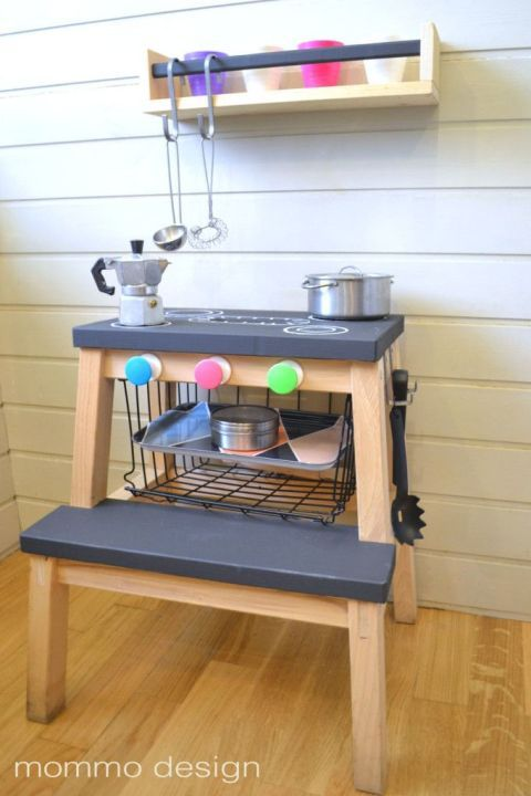 """<p>Your kids are going to love playing """"let's make dinner"""" alongside you — and you're going to love how affordable this set up is. It's as simple as painting the steps black, drawing on a stove top, and adding some knobs on the front to get the """"burners"""" going.</p><p><em data-redactor-tag=""""em"""" data-verified=""""redactor""""><a href=""""http://www.mommodesign.com/black-and-white-ikea-hacks-kids.html"""" target=""""_blank"""">See more at Mommo Design »</a></em></p><p><strong data-redactor-tag=""""strong"""" data-verified=""""redactor"""">What you'll need: </strong><em data-redactor-tag=""""em"""" data-verified=""""redactor"""">chalkboard paint ($4, <a href=""""https://www.amazon.com/Rust-Oleum-1913830-Chalkboard-Spray-11-Ounce/dp/B000RMPLJ6/"""" target=""""_blank"""" data-tracking-id=""""recirc-text-link"""">amazon.com</a>), chalk ($4, <a href=""""https://www.amazon.com/Crayola-White-Chalk-12-Ea/dp/B009VYCA18/"""" target=""""_blank"""" data-tracking-id=""""recirc-text-link"""">amazon.com</a>)</em></p>"""