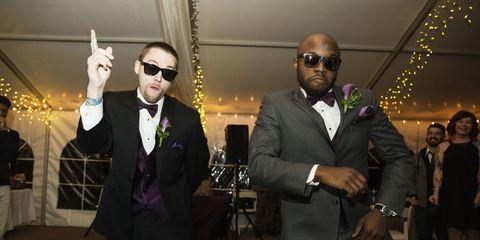 Event, Suit, Ceremony, Formal wear, Wedding, Fun, Tuxedo, Wedding reception, Marriage, Party,
