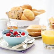 yogurt, orange juice and bread