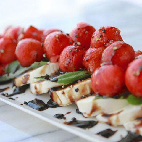 Food, Dish, Cuisine, Skewer, Ingredient, Finger food, Brochette, Tomato, appetizer, Caprese salad,