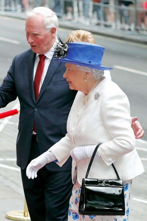 """<p>Protocol says anyone meeting Queen Elizabeth for the first time should wait for her to <a href=""""http://abcnews.go.com/Politics/International/story?id=7228105"""" target=""""_blank"""" data-tracking-id=""""recirc-text-link"""">extend her hand first</a>. And even afterwards, contact should be kept to a minimum. That means <a href=""""http://www.housebeautiful.com/lifestyle/a9021/people-kissing-the-royal-family/"""" target=""""_blank"""" data-tracking-id=""""recirc-text-link"""">hugs and kisses</a> are a major no no.</p>"""