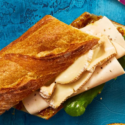 """<p><strong data-redactor-tag=""""strong"""" data-verified=""""redactor"""">Upgrade it: </strong>        Mix in some mustardy marmalade and it'll feel bistro-worthy. In a bowl, combine 1 Tbsp each orange marmalade and whole-grain mustard. Spread on a crusty baguette, then layer with turkey, Brie, and arugula to lend a peppery kick.<span class=""""redactor-invisible-space"""" data-verified=""""redactor"""" data-redactor-tag=""""span"""" data-redactor-class=""""redactor-invisible-space""""></span></p>"""