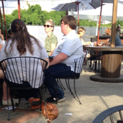 Patio, Leisure, Event, Sitting, Table, Outdoor table, Restaurant,