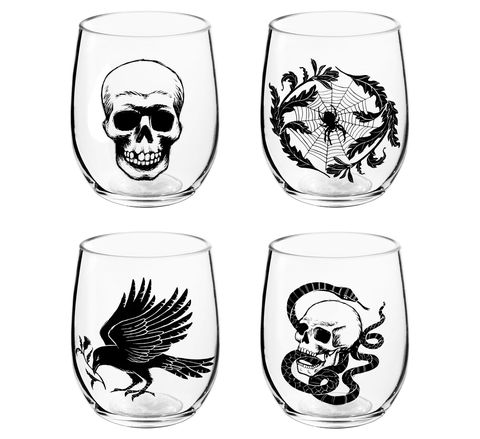 """<p>These spooky glasses feature a skull, raven, skull and snake, and a spider web. Order a few and serve your Hallow's Eve<a href=""""http://www.delish.com/holiday-recipes/halloween/g3044/halloween-punch/"""" target=""""_blank"""" data-tracking-id=""""recirc-text-link"""">punch</a> in 'em.</p><p><span data-redactor-tag=""""span"""" data-verified=""""redactor""""></span><strong data-redactor-tag=""""strong"""" data-verified=""""redactor"""">Price</strong>: $8</p><p><span data-redactor-tag=""""span"""" data-verified=""""redactor""""></span><a href=""""https://www.target.com/p/4ct-halloween-nocturne-stemless-wine-glass-set-skull-spider-snake-raven-hyde-and-eek-boutique-153/-/A-52291146#lnk=newtab"""" target=""""_blank"""" data-tracking-id=""""recirc-text-link"""">Get them here.</a><span class=""""redactor-invisible-space"""" data-verified=""""redactor"""" data-redactor-tag=""""span"""" data-redactor-class=""""redactor-invisible-space""""><a href=""""https://www.target.com/p/4ct-halloween-nocturne-stemless-wine-glass-set-skull-spider-snake-raven-hyde-and-eek-boutique-153/-/A-52291146#lnk=newtab""""></a></span></p>"""