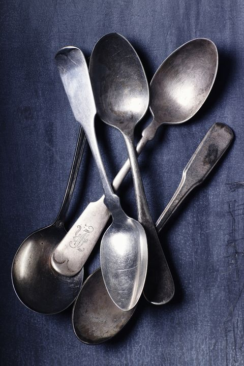 "<p>Keep your eyes peeled&nbsp;for precious metal hiding in the flatware.&nbsp;<a href=""http://www.goodhousekeeping.com/home/g4606/antiques-to-look-for-at-estate-sales/"" data-tracking-id=""recirc-text-link"" target=""_blank"">Real silver</a><span class=""redactor-invisible-space"" data-verified=""redactor"" data-redactor-tag=""span"" data-redactor-class=""redactor-invisible-space""> will usually look tarnished (but you can <a href=""https://www.youtube.com/watch?v=LvK3i3d4eUY"" target=""_blank"" data-tracking-id=""recirc-text-link"">polish it with water and baking soda</a>!)&nbsp;and <a href=""http://www.wikihow.com/Test-Silver"" target=""_blank"" data-tracking-id=""recirc-text-link"">make a ringing sound</a> if you tap it. Snapping up an entire set or finding&nbsp;brand names&nbsp;<a href=""http://www.countryliving.com/shopping/antiques/g3535/selling-antiques/?slide=24"" target=""_blank"" data-tracking-id=""recirc-text-link"">&nbsp;like Tiffany or Gorham</a>&nbsp;can&nbsp;also add more value.&nbsp;&nbsp;</span></p><p><span class=""redactor-invisible-space"" data-verified=""redactor"" data-redactor-tag=""span"" data-redactor-class=""redactor-invisible-space""><a href=""https://www.ebay.com/sch/i.html?_odkw=silverware&amp;_osacat=0&amp;_from=R40&amp;_trksid=p2045573.m570.l1313.TR0.TRC0.H0.Xvintage+silverware.TRS0&amp;_nkw=vintage+silverware&amp;_sacat=0"" data-tracking-id=""recirc-text-link"" target=""_blank""><em data-redactor-tag=""em"" data-tracking-id=""recirc-text-link"">Shop it on Ebay ».</em></a><span class=""redactor-invisible-space"" data-verified=""redactor"" data-redactor-tag=""span"" data-redactor-class=""redactor-invisible-space""></span><br></span></p>"