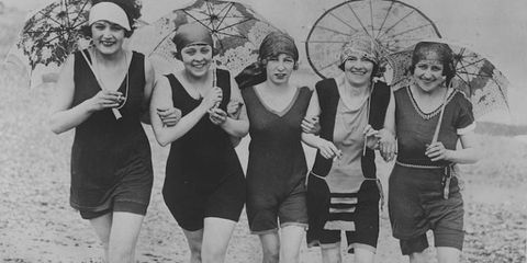 """<p>Daring to bare landed Australian swimmer Annette Kellerman in prison. Though the pro was a world record holder and popular vaudeville star hailed as The Original Mermaid, when she stepped on to Massachusetts' &nbsp;Revere Beach in 1907 in a bathing costume that stopped above her knees, she was <a href=""""https://www.boston.com/news/history/2015/07/02/this-womans-one-piece-bathing-suit-got-her-arrested-in-1907"""" target=""""_blank"""" data-tracking-id=""""recirc-text-link"""">arrested</a> for indecency. """"But the judge was quite nice,"""" she recalled in a 1953 <em data-redactor-tag=""""em"""" data-verified=""""redactor"""">Boston Sunday Globe</em> article, and allowed me to wear the suit if I would wear a full-length cape to the water's edge.''</p><p><strong data-verified=""""redactor"""" data-redactor-tag=""""strong"""">RELATED:&nbsp;<a href=""""http://www.redbookmag.com/fashion/style/g4320/best-one-piece-swimsuits/"""" target=""""_blank"""" data-tracking-id=""""recirc-text-link"""">10 Flattering One-Piece Swimsuits for Every Body Type</a><span class=""""redactor-invisible-space"""" data-verified=""""redactor"""" data-redactor-tag=""""span"""" data-redactor-class=""""redactor-invisible-space""""><a href=""""http://www.redbookmag.com/fashion/style/g4320/best-one-piece-swimsuits/""""></a></span></strong><br></p>"""