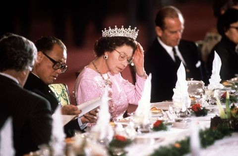 """<p>When dining as a family, after the Queen has taken her last bite, everyone needs to <a href=""""http://www.stylist.co.uk/people/the-baffling-world-of-royal-etiquette-strange-rules-and-bizarre-protocol-over-the-ages-monarchy"""" data-tracking-id=""""recirc-text-link"""">stop eating.</a></p>"""