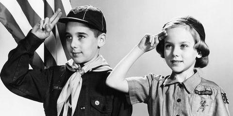 Gesture, Photography, Headgear, Uniform, Black-and-white, Child,
