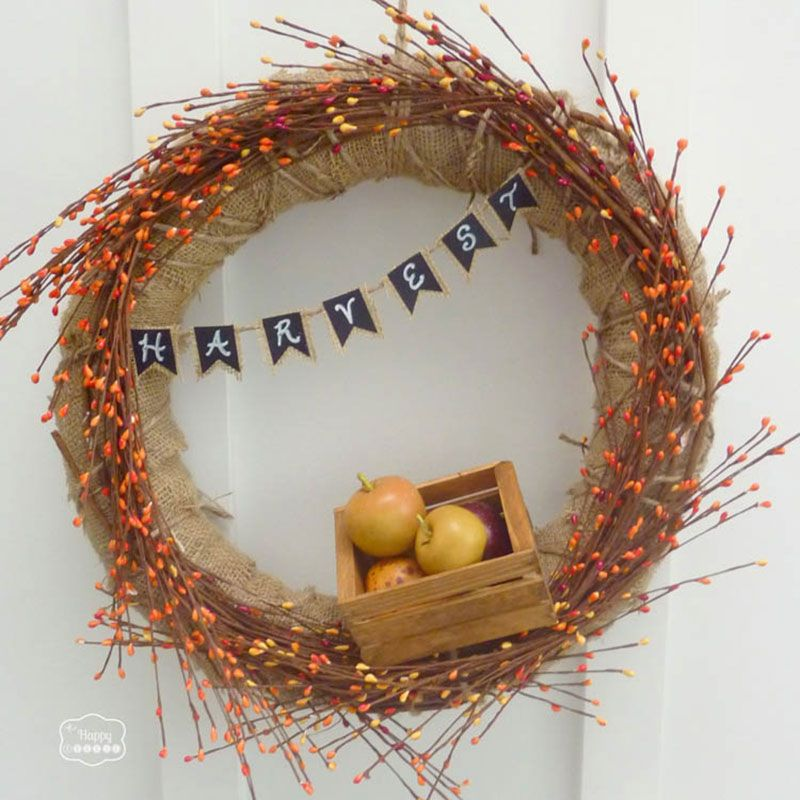 "<p>If there's any time to use an excessive amount of burlap in your decor, it's autumn, and this wreath fits the bill. </p><p><strong data-redactor-tag=""strong"" data-verified=""redactor"">See the full tutorial at </strong><strong data-redactor-tag=""strong"" data-verified=""redactor""><a href=""http://thehappyhousie.porch.com/burlap-fall-harvest-wreath-with-mini-chalkboard-bunting/"" target=""_blank"" data-tracking-id=""recirc-text-link"">The Happy Housie</a>. </strong></p>"