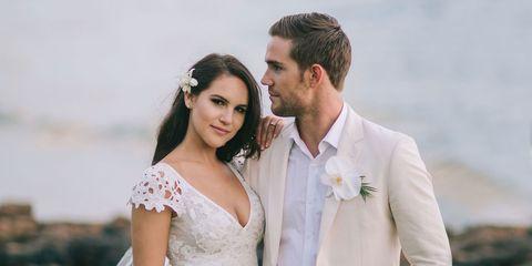 Photograph, White, Bride, Suit, Dress, Gown, Formal wear, Wedding dress, Skin, Ceremony,