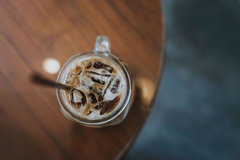 Frappé coffee, Photography, Drink, Coffee, Wood, Iced coffee, Food, Metal,