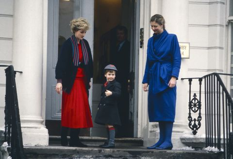 <p>On January 15, 1987, Princess Diana took Prince William to his first day at Wetherby School in London, where he was welcomed by headmistress Frederika Blair Turner. </p>