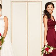 Gown, Dress, Clothing, Bride, Photograph, Wedding dress, Shoulder, Bridal party dress, Bridal clothing, Red,