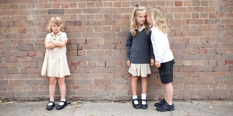 Photograph, Clothing, Footwear, Fashion, Snapshot, Street fashion, Shoe, Blond, Uniform, Child,